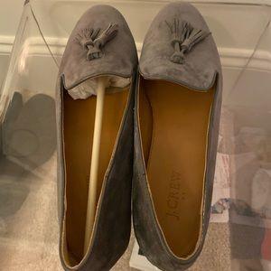 JCREW Suede Loafers Grey Tassels